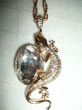 New Gecko Lizard Rhinestone Pendant Necklace Gold Plated Cord Chain Nwot