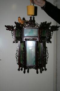 Chinesische Lampe, auseinandernehmbar, klappbar, handgeschnitzt, Glasscheiben sc