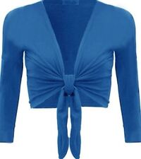 NEW LADIES TIE UP CROP SHRUG WOMENS WRAP OPEN BOLERO CARDIGAN TOP SIZE 8-14