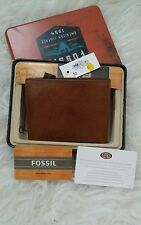 Fossil  hampton camel brown vintage bifold wallet ,new with tags and boxed