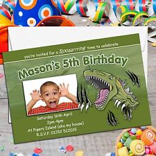 10 Personalised Boys Girls Dinosaur TRex Birthday Party PHOTO Invitations N121