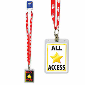 VIP Party Pass Lanyard with Card Holder, ALL ACCESS VIP Entry Pass Theme Party