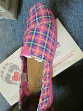 NEW SKECHERS BOBS GLIM GLAM SHOES GIRLS 6 WOMENS 8 PINK PLAID LOAFERS  FREE SHIP