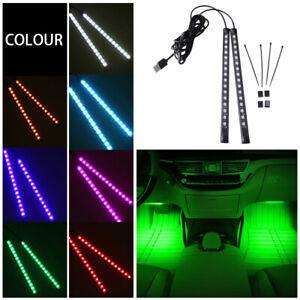 2x 16LED Green Car Interior Floor Strip Lights Atmosphere Light Accessories Lamp