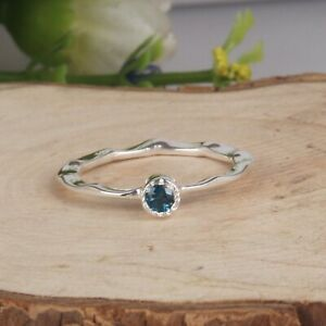 London Blue Topaz Stackable Ring Solid 925 Silver Hammered Thin Band Ring