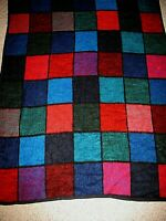 Vintage Biederlack Stained Glass Color Block Throw Blanket