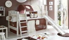 Lit mezzanine avec toboggan KENNY Pin teinté blanc tissus Marron-Beige