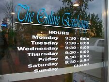 "Custom Business Store Hours Sign, Business Vinyl Colors Decal Up To 12""Hx18""W"