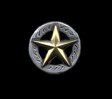 "Western Equestrian Tack Antique Silver Gold Star 1 1/4"" Conchos 6"
