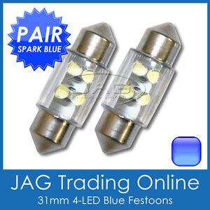 2 x 31mm BLUE 4-LED FESTOON INTERIOR LIGHT GLOBES/BULBS - Car/4x4/Caravan/Truck