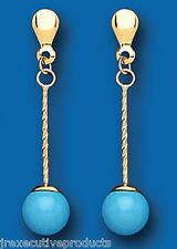 Turquoise Drop Earrings Natural Turquoise earrings Yellow Gold Twist Stick Drops