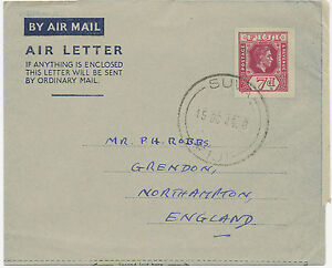 AU$ FIJI 1949 King George VI 7 D superb Air Letter postal stationery w. CDS SUVA