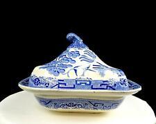 "STAFFORDSHIRE ENGLAND JOSEPH CLEMENTSON BLUE WILLOW 9 3/4"" VEGETABLE BOWL 1839-"
