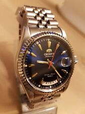 """NEW ORIENT """"Oyster"""" AUTOMATIC DAYDATE SILVER W/DARK BLUE DIAL WATCH SEV0J006DH"""
