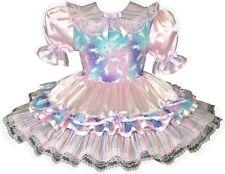 """Arianna"" CUSTOM FIT Pink Satin Glitter Unicorn Adult Baby Sissy Dress LEANNE"