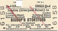 B.R.B. Edmondson Ticket - London Liverpool Street to Bishop's Stortford
