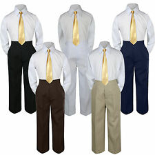 3pc Mustard Tie Shirt Suit for Baby Boy Toddler Kid Pants Color by Selection