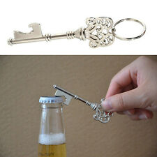 Silver Key Shaped Bottle Opener Ring Keyring Keychain Metal Beer Fobs Bar Tool