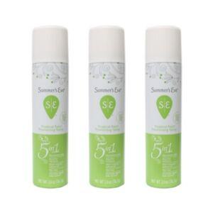 3 Pack Summer's Eve 5 in 1 Freshening Spray, Tropical Rain Deodorant, 2oz