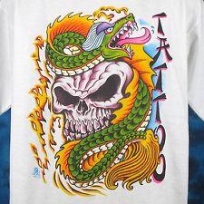 NOS vintage 80s SKULL CHINESE DRAGON TATTOO T-Shirt M/L cartoon biker asian thin