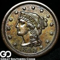1848 Large Cent, Braided Hair, Sharp Strike, Beautiful Early Date!