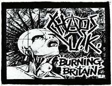 BLACK & WHITE CHAOS UK BURNING BRITAIN HC ANARCHY DIY PUNK 1977 PRINTED PATCH