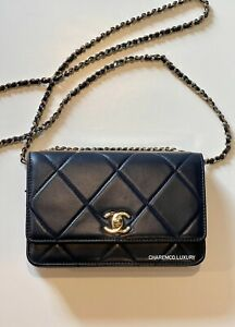 🦋 CHANEL Small Trendy Navy Blue Wallet On Chain WOC 🦋 Flap Quilted Bag Gold HW