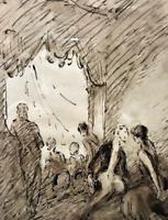 """Georges D'ESPAGNAT -""""Dans la loge""""-  Dessin à l'encre et au lavis"""