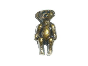 "Adorable Teddy Bear Metal Shank Button 1/2""x1""  Brownish Tone Metal Bear Button"