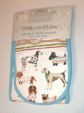 DOGS Best in Show DOUBLE OVEN GLOVE White Blue QUILTED COTTON Baking COOK SMART