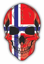 "Skull Flag  Norway Car Bumper Sticker 4"" x 5"""