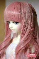 BJD Doll Hair Wig 7-8 inch 18-20cm Pink 1/4 MSD DZ DOD LUTS Braids Curly hair