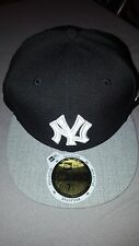 NEW ERA 59 FIFTY MLB NEW YORK NY YANKEES BLACK GREY REF FITTED HAT CAP 7 1/4 NEW