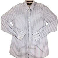Calibre Mens Italian Fabric Button Up Long Sleeve Shirt Size M Blue Red Striped