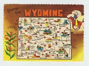 Used Map Postcard of Wyoming, USA