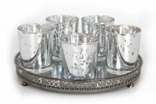 5 Silver Glass Votive Tealight Candle Holders Mirror Tray Table Centrepiece Gift