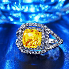 Wedding Bridal Ring Gift Size 8 Fashion Yellow Topaz Birthstone Silver Filled