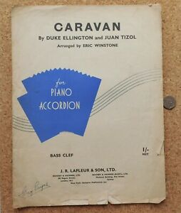 Caravan 1930s vintage sheet music for Piano Accordion Duke Ellington Tizol jazz