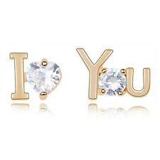 "18K ROSE GOLD PLATED GENUINE CUBIC ZIRCONIA ""I LOVE YOU"" HEART STUD EARRINGS"