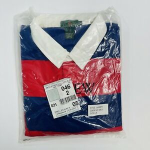 Vintage 90s J Crew Striped Rugby Polo Long Sleeve Shirt Mens Size LT NWT