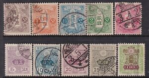Japan Stamp 1913 Tazawa - Not Watermarked part used set of 10, including $1