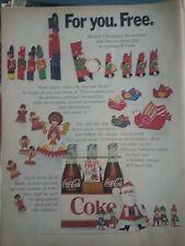 1968 Coca Cola Coke Carton Christmas Santa Angel Partridge Print Ad