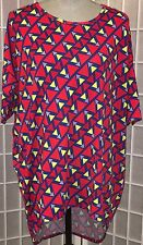 LuLaRoe Irma S Blue, Red & Yellow Print * Perfect with leggings