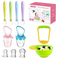 Food Feeder Baby Fresh Fruit Feeder 2 Pack with 3 Different Sized Silicone Mash