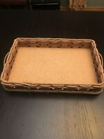 Vintage Pyrex Wood And Wicker Serving Tray For Pyrex #233 W/ leather Handles