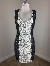 Guess M 10 Black White Lace Sheath dress Cocktail Formal Party Stretch bodycon