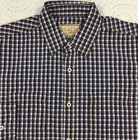 Vintage ITALIA Men's L/S Shirt S Small Blue Brown Checked NWT Cotton $98 NICE!