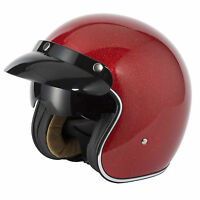 V-CAN V537 (RS-V06) OPEN FACE SCOOTER MOTORCYCLE RETRO HELMET RED METAL FLAKE