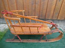 VERY OLD Wooden Baby Sled with Curved Wooden Back Rest GREAT FOR DECORATION