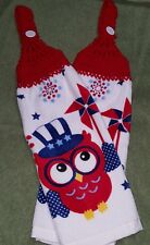 Pair of Hand Crocheted Hanging Kitchen Dish Towels - 4th of July Owls Red